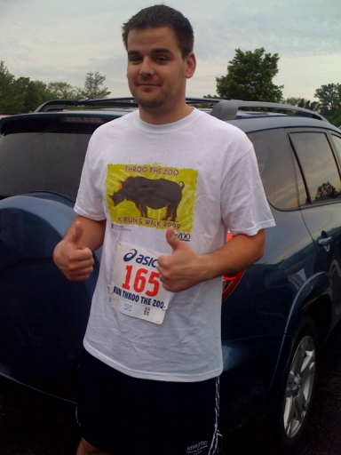 Running a 5K with his mom - May 2009